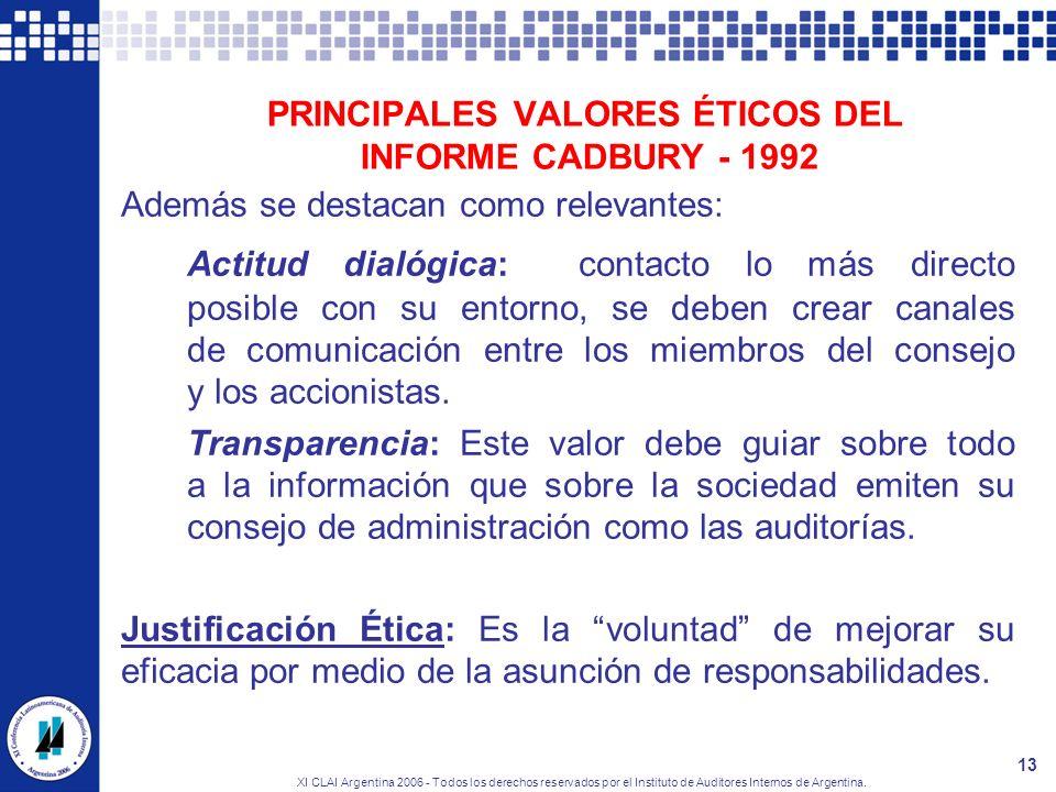 PRINCIPALES VALORES ÉTICOS DEL INFORME CADBURY - 1992