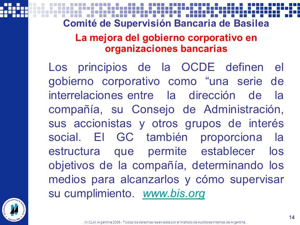 Comité de Supervisión Bancaria de Basilea La mejora del gobierno corporativo en organizaciones bancarias