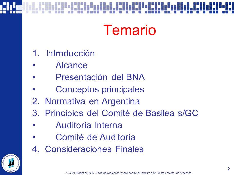 Temario Introducción Alcance Presentación del BNA