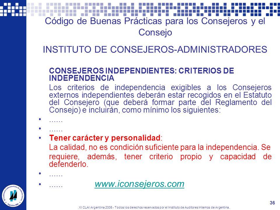 Código de Buenas Prácticas para los Consejeros y el Consejo INSTITUTO DE CONSEJEROS-ADMINISTRADORES