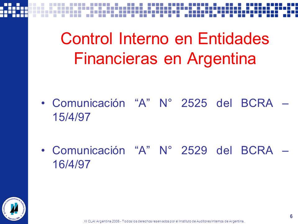 Control Interno en Entidades Financieras en Argentina
