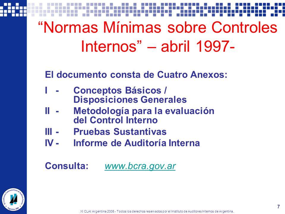 Normas Mínimas sobre Controles Internos – abril 1997-