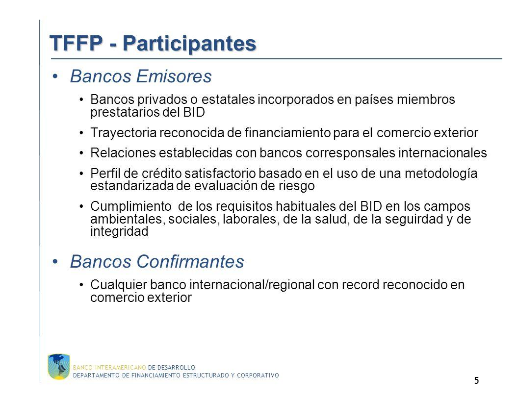TFFP - Participantes Bancos Emisores Bancos Confirmantes