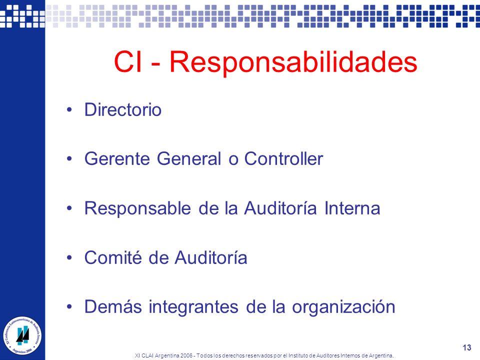 CI - Responsabilidades