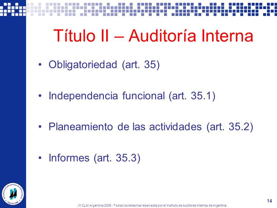 Título II – Auditoría Interna