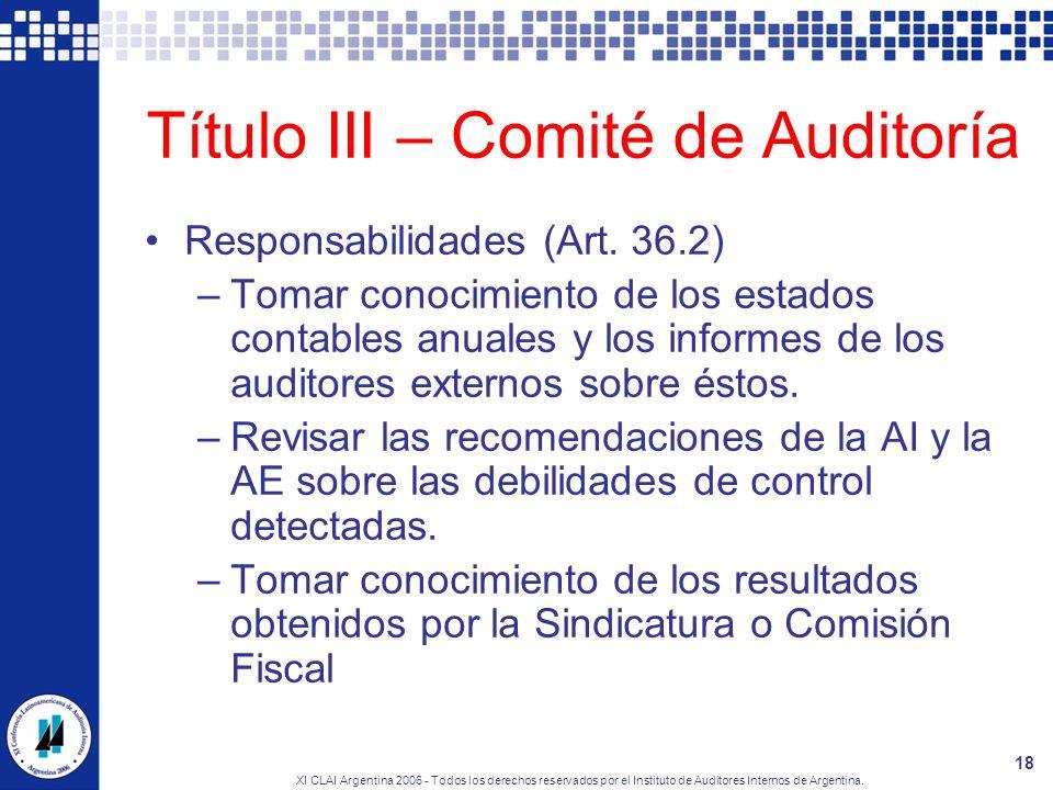Título III – Comité de Auditoría