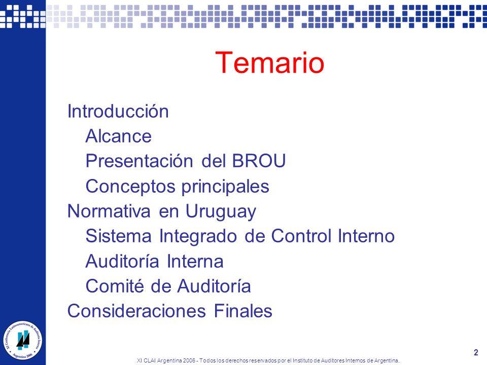 Temario Introducción Alcance Presentación del BROU