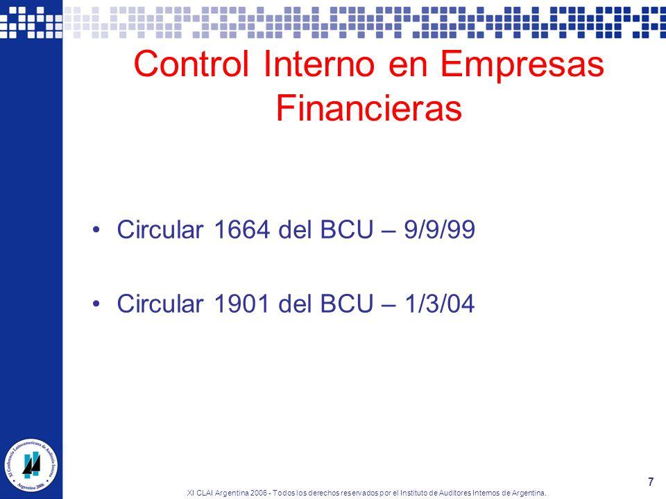Control Interno en Empresas Financieras