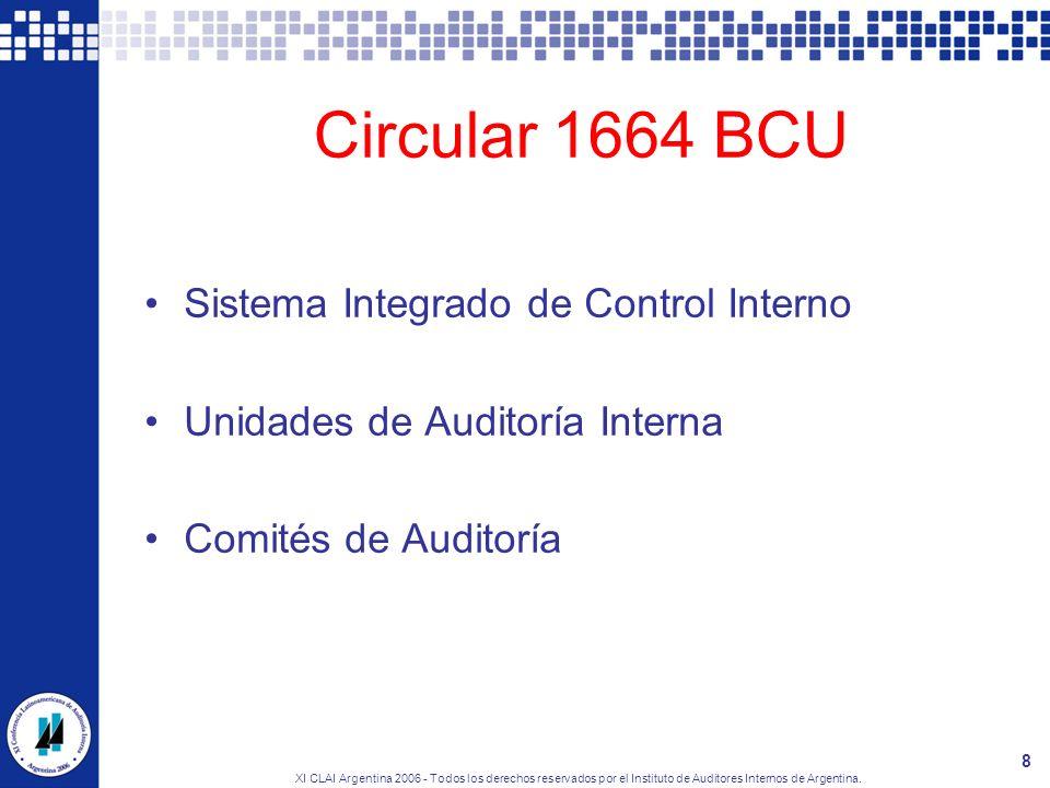 Circular 1664 BCU Sistema Integrado de Control Interno