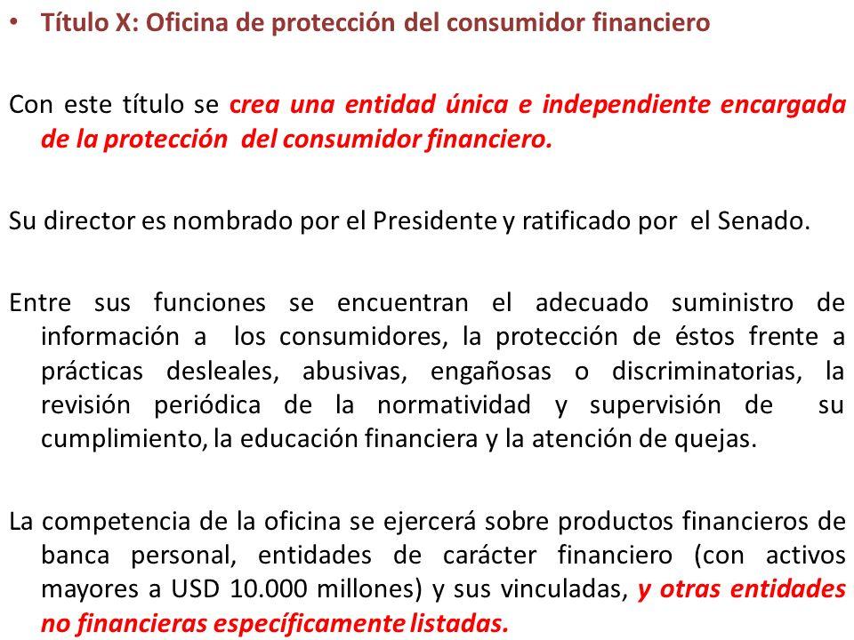 Título X: Oficina de protección del consumidor financiero