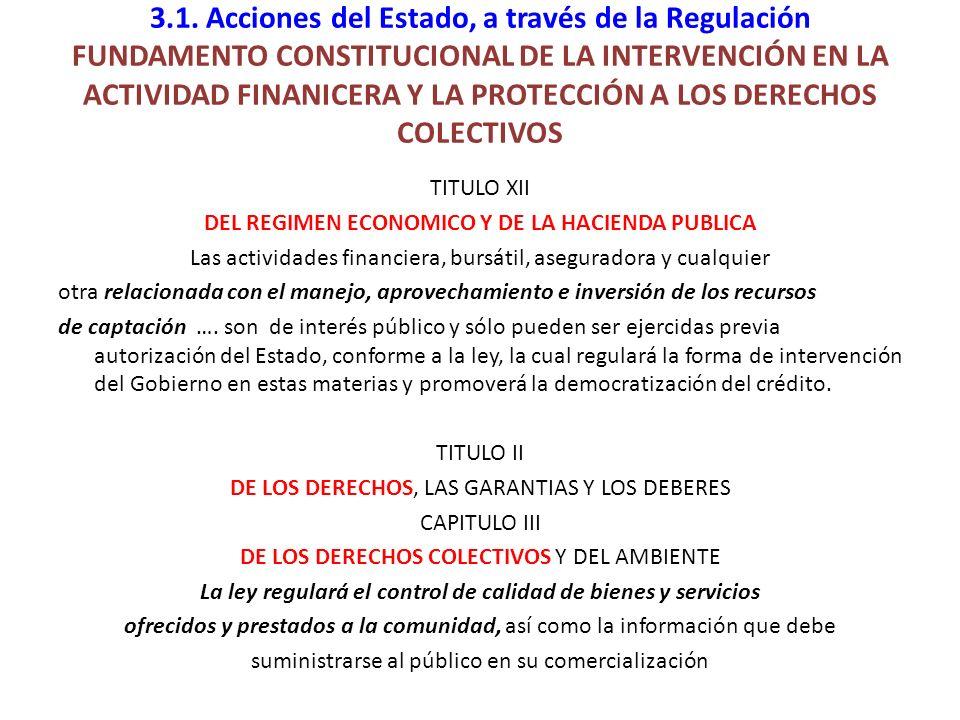 3.1. Acciones del Estado, a través de la Regulación FUNDAMENTO CONSTITUCIONAL DE LA INTERVENCIÓN EN LA ACTIVIDAD FINANICERA Y LA PROTECCIÓN A LOS DERECHOS COLECTIVOS