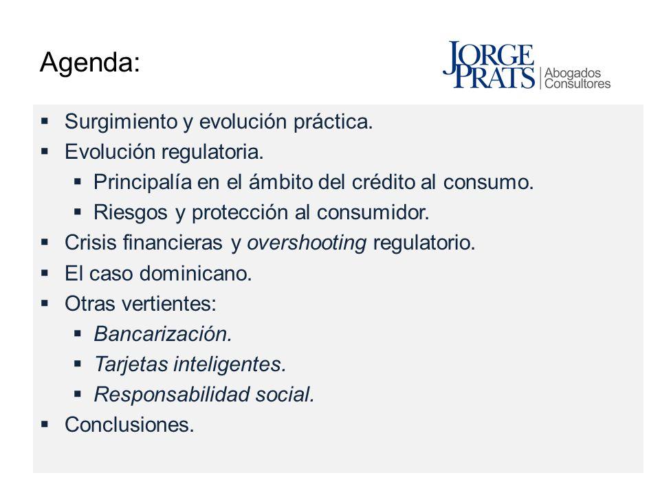 Agenda: Surgimiento y evolución práctica. Evolución regulatoria.