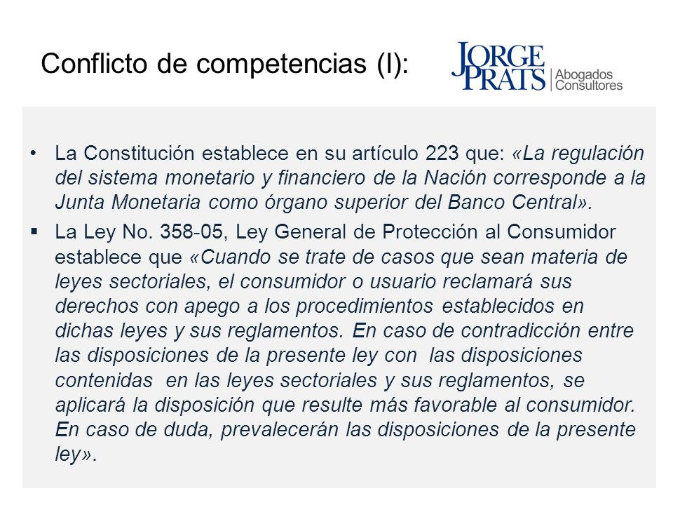 Conflicto de competencias (I):