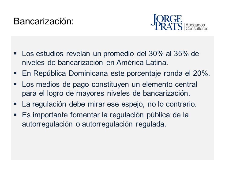 Bancarización: Los estudios revelan un promedio del 30% al 35% de niveles de bancarización en América Latina.