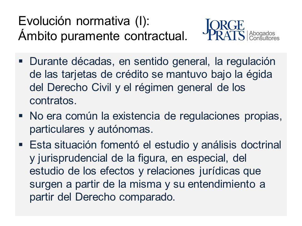 Evolución normativa (I): Ámbito puramente contractual.