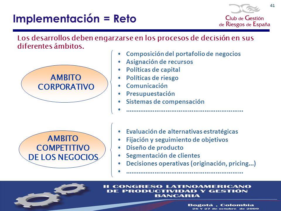 Implementación = Reto AMBITO CORPORATIVO AMBITO COMPETITIVO