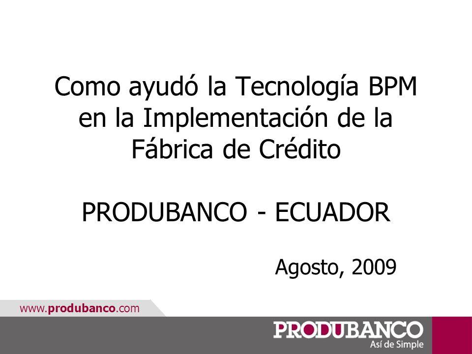 Como ayudó la Tecnología BPM en la Implementación de la Fábrica de Crédito PRODUBANCO - ECUADOR