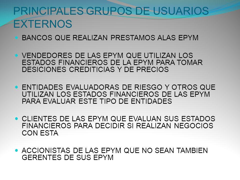 PRINCIPALES GRUPOS DE USUARIOS EXTERNOS