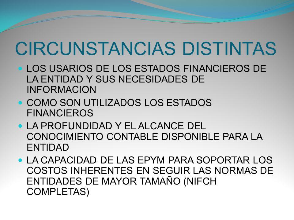 CIRCUNSTANCIAS DISTINTAS