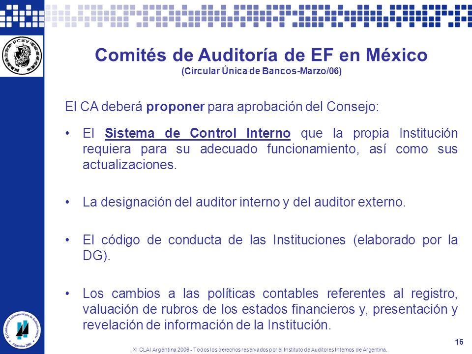 Comités de Auditoría de EF en México (Circular Única de Bancos-Marzo/06)