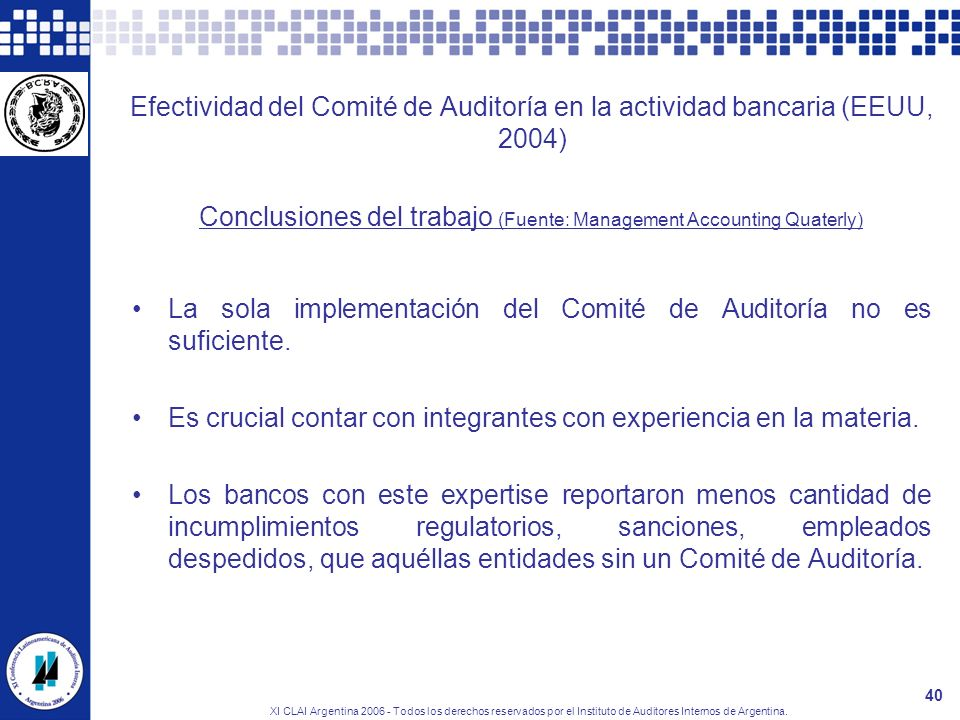 Conclusiones del trabajo (Fuente: Management Accounting Quaterly)