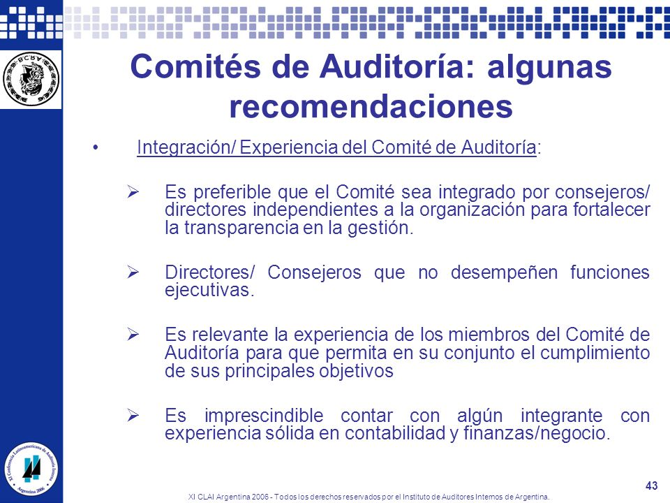 Comités de Auditoría: algunas recomendaciones