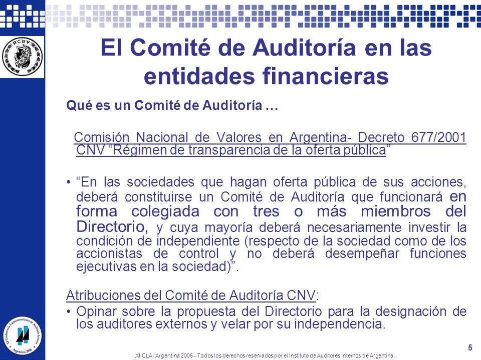 El Comité de Auditoría en las entidades financieras