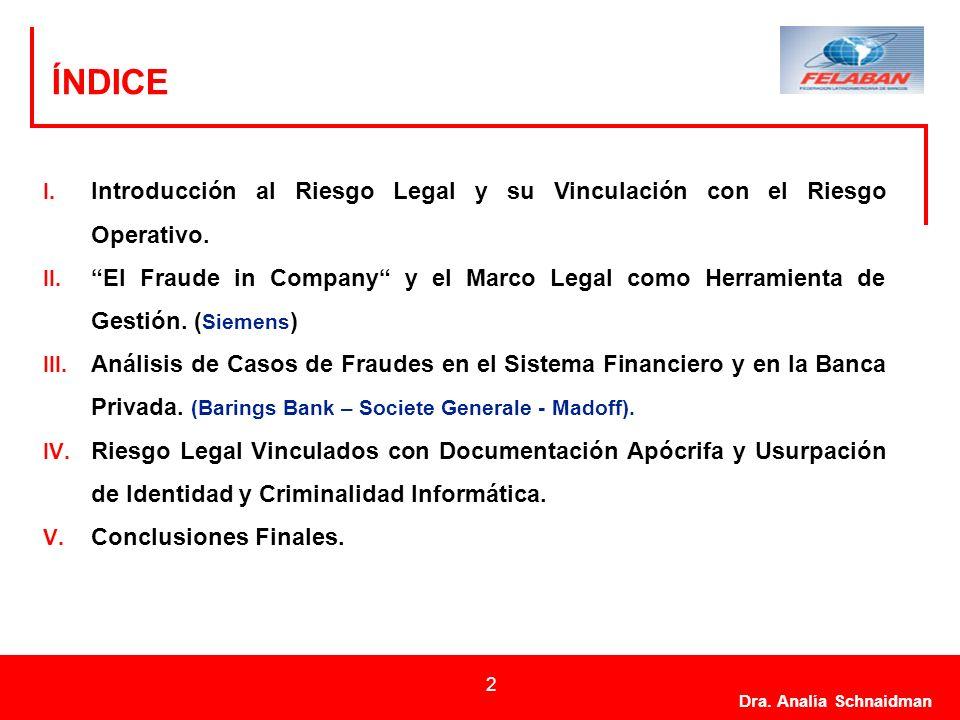 ÍNDICEIntroducción al Riesgo Legal y su Vinculación con el Riesgo Operativo.
