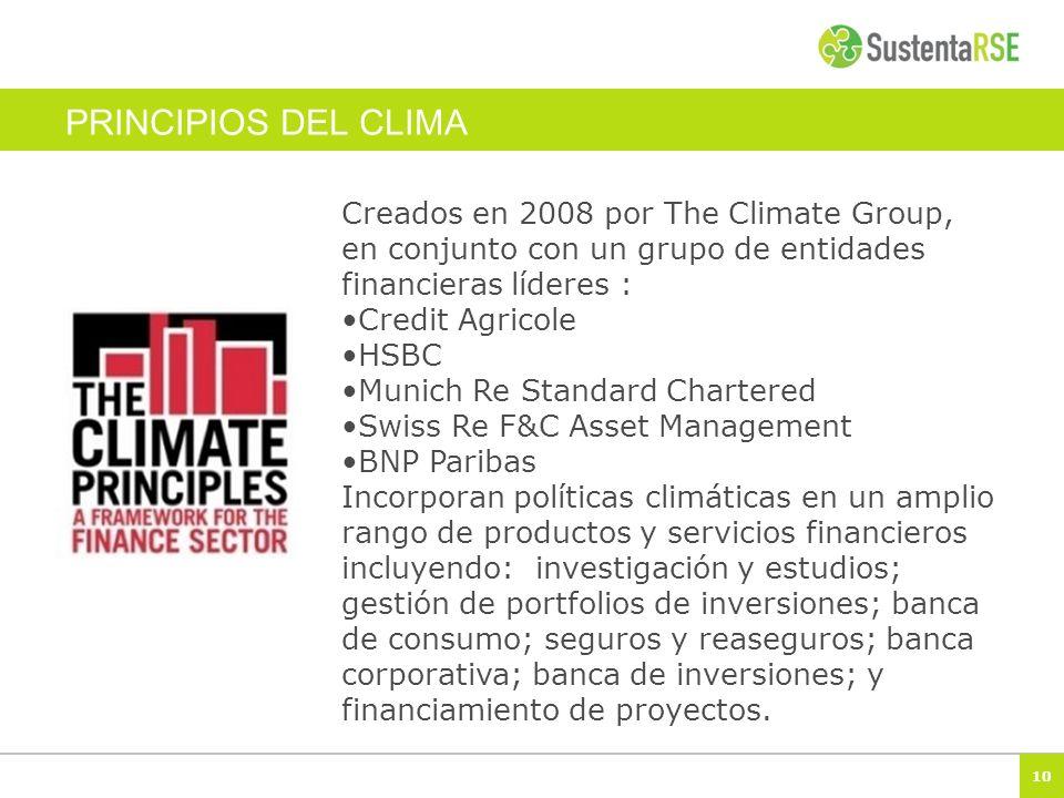 PRINCIPIOS DEL CLIMA Creados en 2008 por The Climate Group, en conjunto con un grupo de entidades financieras líderes :