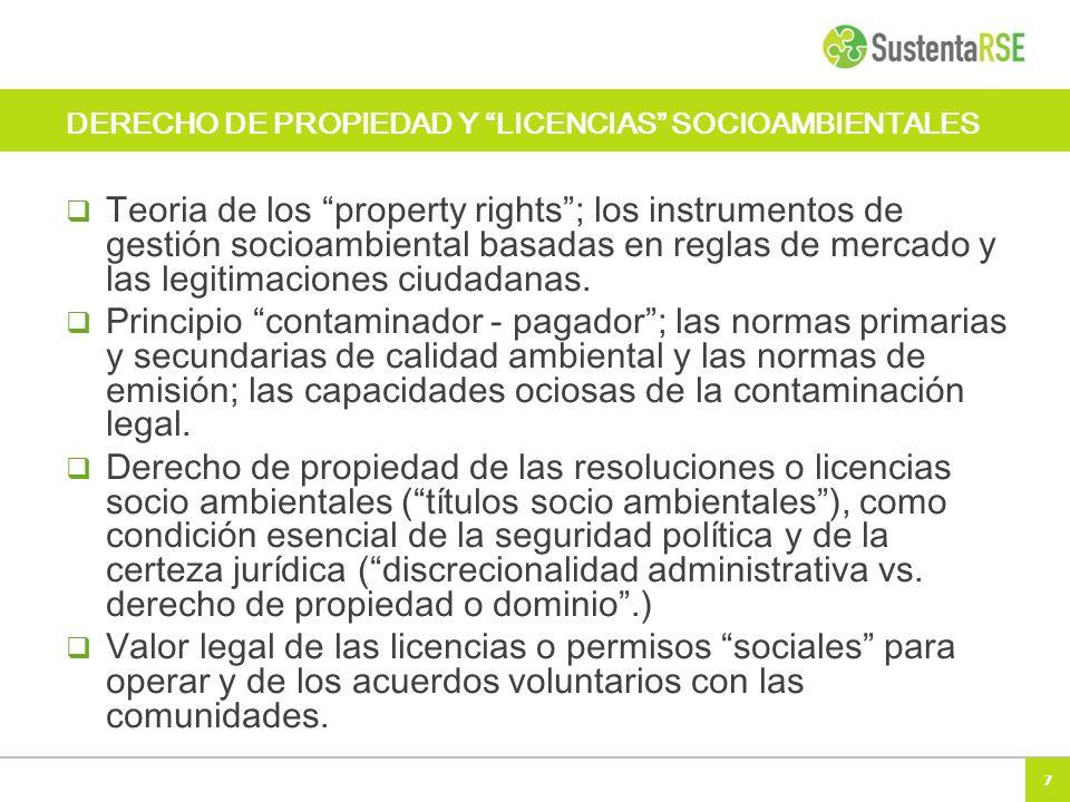 DERECHO DE PROPIEDAD Y LICENCIAS SOCIOAMBIENTALES