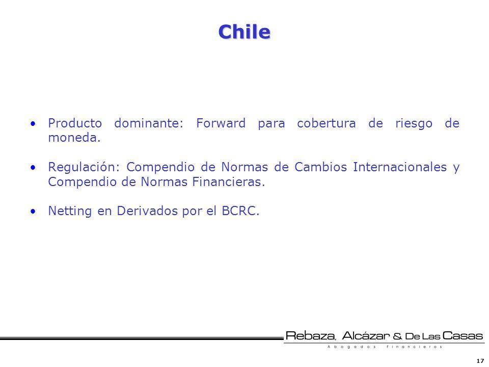 Chile Producto dominante: Forward para cobertura de riesgo de moneda.