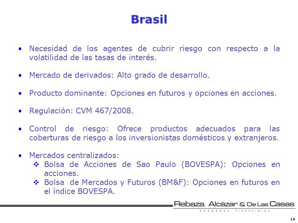 Brasil Necesidad de los agentes de cubrir riesgo con respecto a la volatilidad de las tasas de interés.