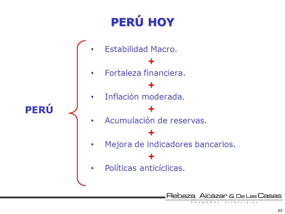 PERÚ HOY PERÚ Estabilidad Macro. + Fortaleza financiera.