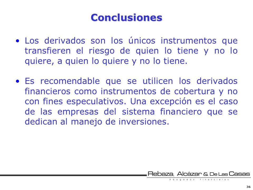 Conclusiones Los derivados son los únicos instrumentos que transfieren el riesgo de quien lo tiene y no lo quiere, a quien lo quiere y no lo tiene.