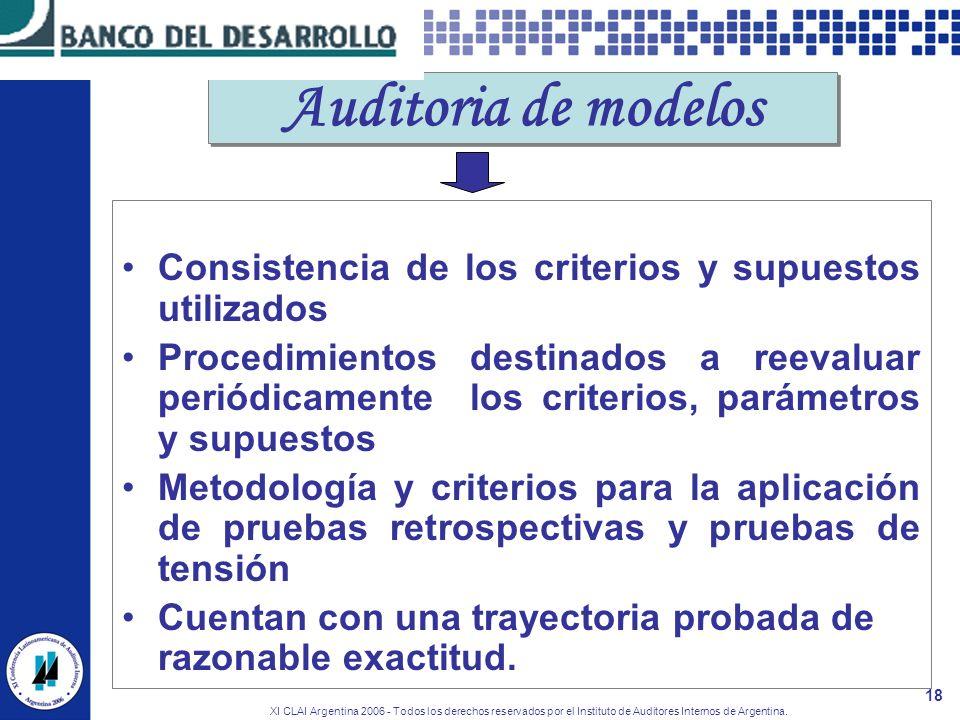 Auditoria de modelos Consistencia de los criterios y supuestos utilizados.