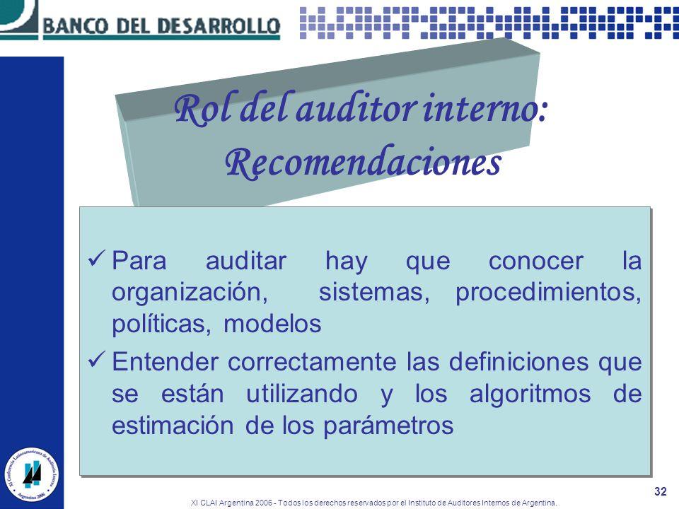 Rol del auditor interno: Recomendaciones