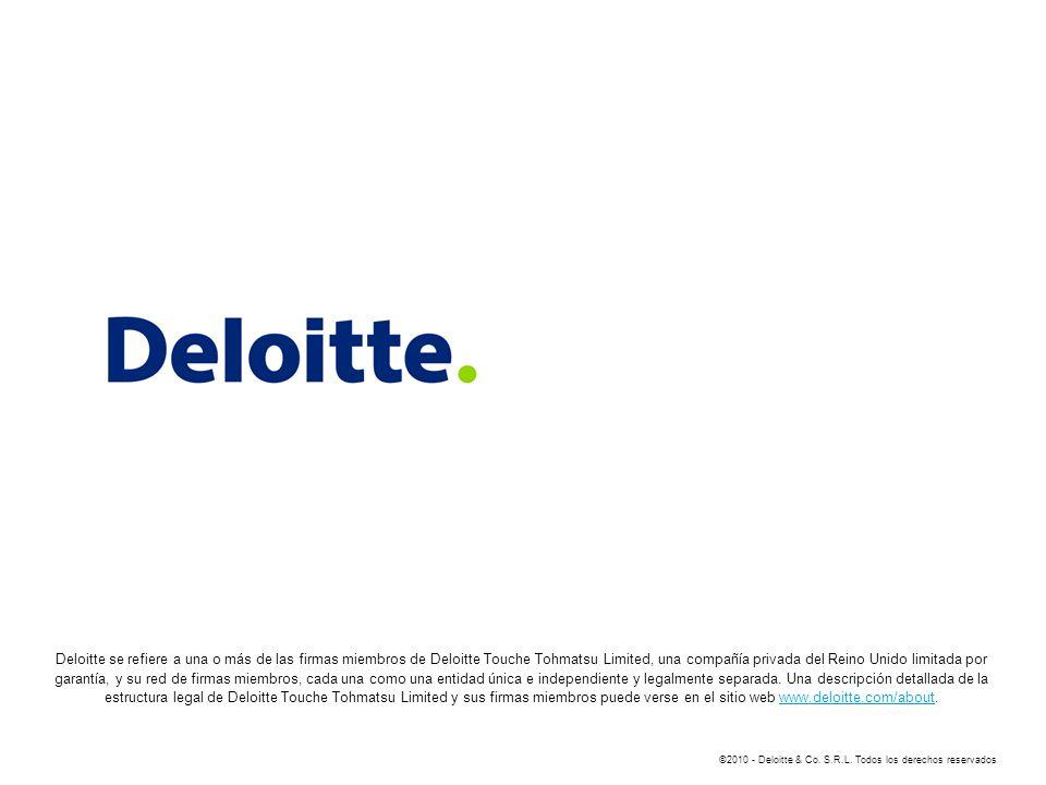 Deloitte se refiere a una o más de las firmas miembros de Deloitte Touche Tohmatsu Limited, una compañía privada del Reino Unido limitada por garantía, y su red de firmas miembros, cada una como una entidad única e independiente y legalmente separada. Una descripción detallada de la estructura legal de Deloitte Touche Tohmatsu Limited y sus firmas miembros puede verse en el sitio web www.deloitte.com/about.