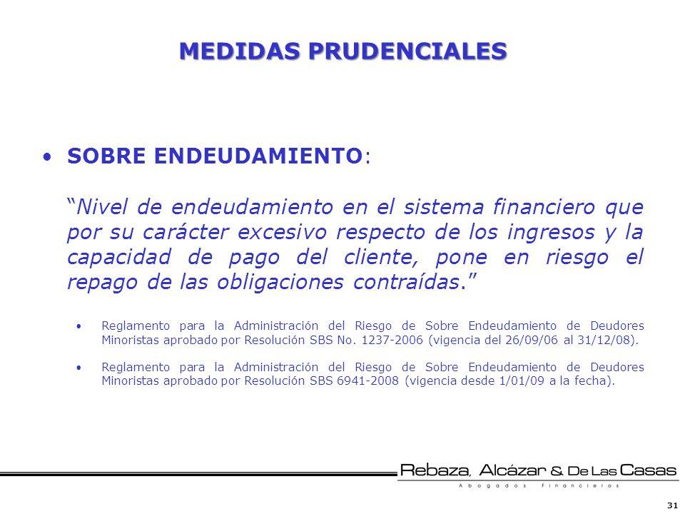 MEDIDAS PRUDENCIALES SOBRE ENDEUDAMIENTO: