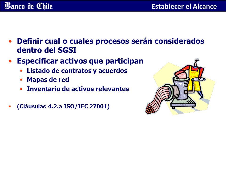 Definir cual o cuales procesos serán considerados dentro del SGSI