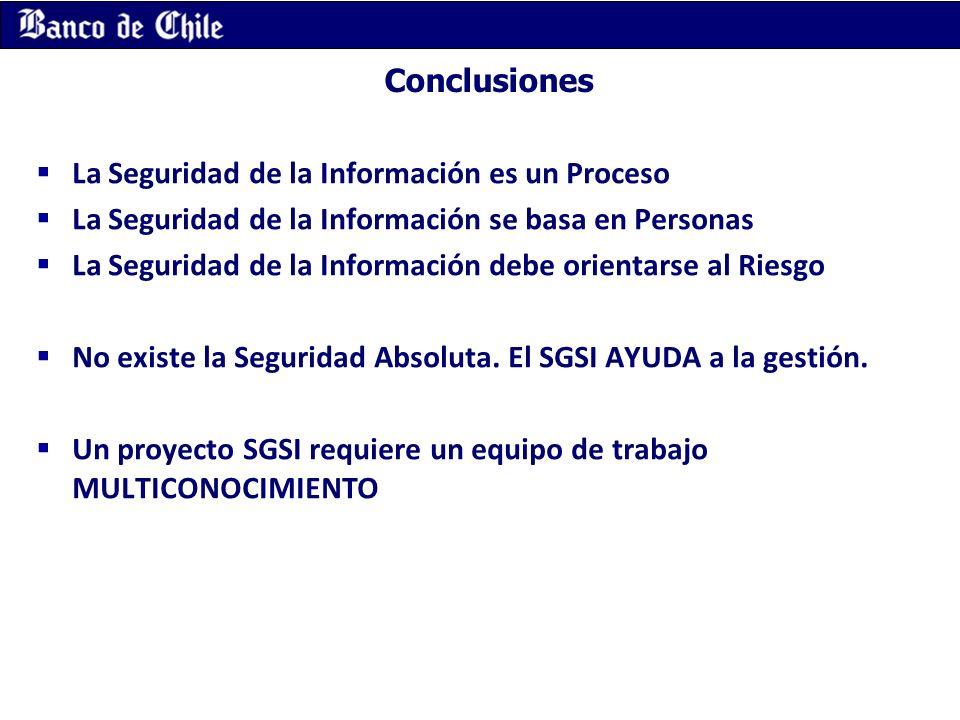 Conclusiones La Seguridad de la Información es un Proceso. La Seguridad de la Información se basa en Personas.