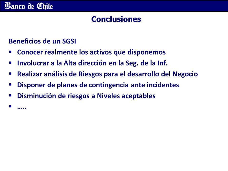 Conclusiones Beneficios de un SGSI. Conocer realmente los activos que disponemos. Involucrar a la Alta dirección en la Seg. de la Inf.
