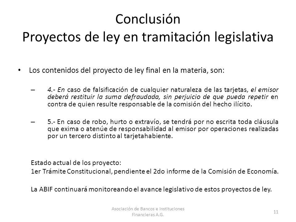 Conclusión Proyectos de ley en tramitación legislativa