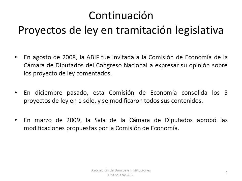 Continuación Proyectos de ley en tramitación legislativa