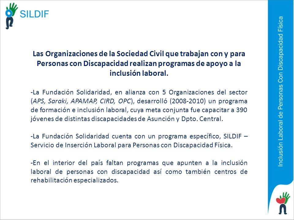 Las Organizaciones de la Sociedad Civil que trabajan con y para Personas con Discapacidad realizan programas de apoyo a la inclusión laboral.
