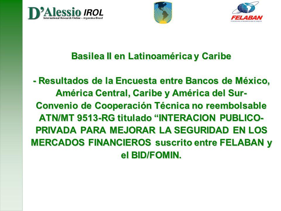 Basilea II en Latinoamérica y Caribe - Resultados de la Encuesta entre Bancos de México, América Central, Caribe y América del Sur- Convenio de Cooperación Técnica no reembolsable ATN/MT 9513-RG titulado INTERACION PUBLICO- PRIVADA PARA MEJORAR LA SEGURIDAD EN LOS MERCADOS FINANCIEROS suscrito entre FELABAN y el BID/FOMIN.