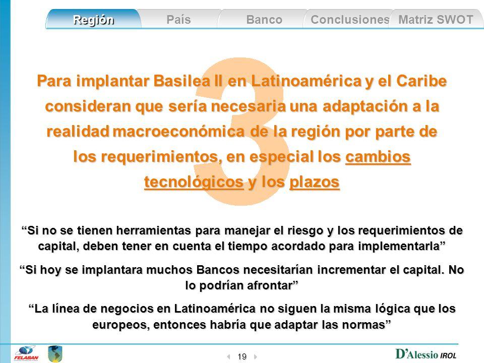 Para implantar Basilea II en Latinoamérica y el Caribe consideran que sería necesaria una adaptación a la realidad macroeconómica de la región por parte de los requerimientos, en especial los cambios tecnológicos y los plazos