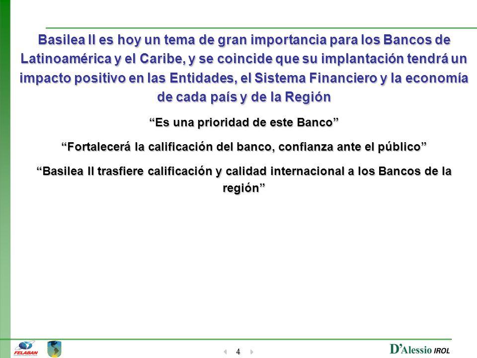 Basilea II es hoy un tema de gran importancia para los Bancos de Latinoamérica y el Caribe, y se coincide que su implantación tendrá un impacto positivo en las Entidades, el Sistema Financiero y la economía de cada país y de la Región