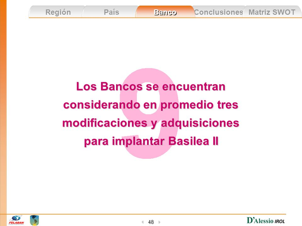 Los Bancos se encuentran considerando en promedio tres modificaciones y adquisiciones para implantar Basilea II