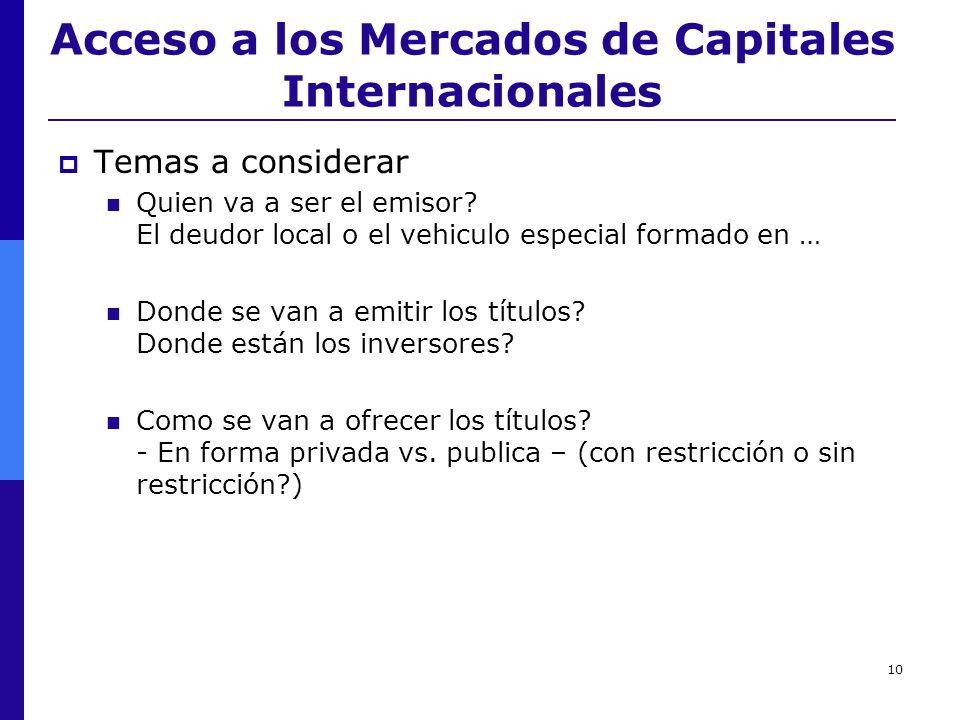 Acceso a los Mercados de Capitales Internacionales