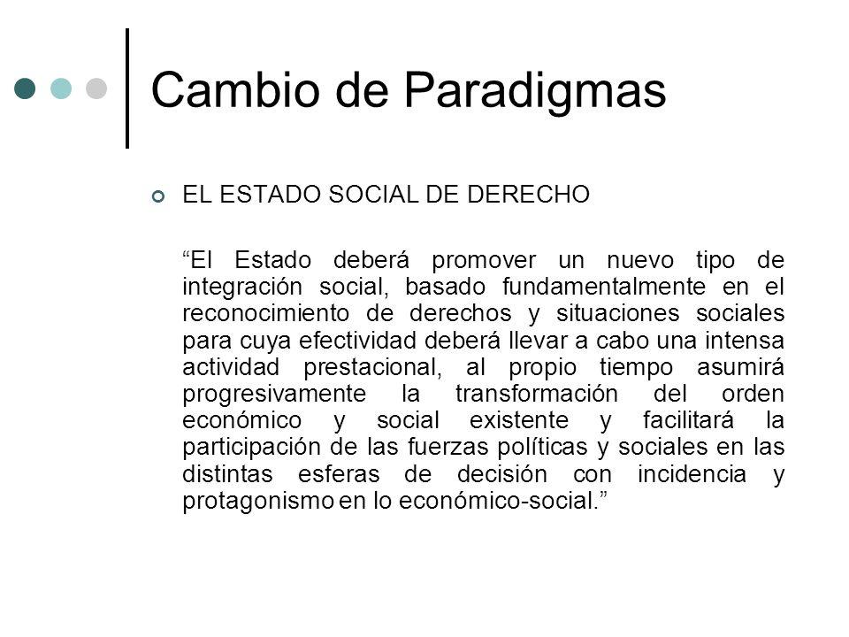 Cambio de Paradigmas EL ESTADO SOCIAL DE DERECHO